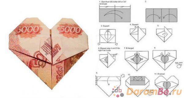 Как сделать сердце из денежной купюры - Vdpo85.ru